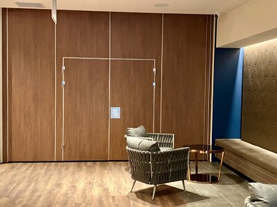 Space100 with Double inset pass doors Polytec Florentine Walnut Woodmatt