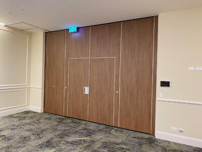 Space100 with Double inset pass doors Finish: Polytec Florentine Walnut Woodmatt